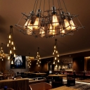 Cluster Multi Light Pendant Loft Iron 10-Light Square Cage Multi Pendant Light in Black for Living Room