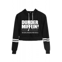 New Fashion Womens Letter Dunder Mifflin Print Stripe Long Sleeve Crop Hoodie