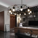 Contemporary Geometric Chandelier Light Iron 10-Light Large Hanging Lights in Black for Living Room