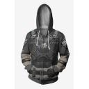 Grey 3D Skull Armour Printed Long Sleeve Zip Up Hoodie