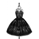 Sexy Straps Sleeveless Lace Patchwork Skull Printed Party Evening Gown Fit&Flare Mini Cami Dress