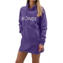 Simple BLONDE Letter Printed Long Sleeve Hooded Sweatshirt Dress