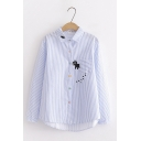 Cute Cat Embroidered Pattern Long Sleeve Button Down Loose Striped Shirt