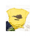 MONDAY Letter Funny Sloth Printed Round Neck Short Sleeve Summer T-Shirt