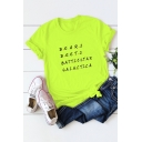 BEARS BEETS Letter Print Round Neck Short Sleeve Casual Loose Summer T-Shirt