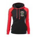 Stylish Letter SOUTH SIDE Snake Print Chest Color Black Loose Casual Hoodie