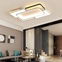 Metallic Block Ceiling Flush Light with Acrylic Diffuser Modernism Led Flush Lighting