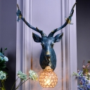 1 Light Ball Wall Sconce Light Loft Clear Crystal Wall Mounted Light with Decorative Stag Head