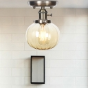 Modern Industrial Orb Semi Flush Mount Iron 1 Head Semi-Flush Mount with Clear/Amber Glass Shade for Bathroom