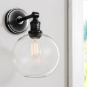 Industrial Modern Wall Lighting Metal 1 Bulb Sconce Wall Lighting with Clear Glass Shade for Corridor Hallway Foyer