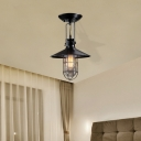 Black Cage Ceiling Light Coastal Iron and Glass 1 Light Ceiling Light Fixture for Coffee Shop