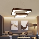 2 Tiers Square Pendant Light Contemporary Integrated Led Acrylic Chandelier in Brown