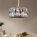 8 Lights Drum Hanging Pendant Light Contemporary Clear Crystal Bedroom Lighting