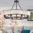 Round Ceiling Chandelier Contemporary Crystal and Iron 5/8 Light Hanging Chandelier in Black for Living Room