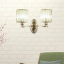 Champagne Silver Sconce Light Modern Metal Crystal Shade Wall Sconce Light Fixture for Bedroom