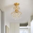 Brass Crystal Semi Flush Mount Light Modern Metal 1 Light Unique Ceiling Light Fixtures for Foyer