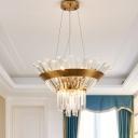 Flared Crystal Hanging Lights Modern Unique Candle Pendant Ceiling Lights for Living Room Bedroom