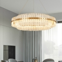 2-Tier Ring Hanging Pendant Light Contemporary Iron and Glass Hanging Lamps in Gold for Indoor