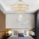 Raindrop Crystal Glass Hanging Lamp Modern Creative 3-Tier Pendant Ceiling Lights for Bedroom