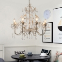 Distressed White Chandelier Light French Country Metal Ceiling Pendant Light with Clear Crystal