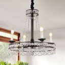 French Style Candle Pendant Light with Clear Crystal Bead Multi Light Chandelier in Black