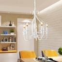 Exposed Bulb Chandelier Light Rustic French Style Metal White Foyer Pendant Light