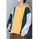 Men's Hot Stylish Colorblock Print Long Sleeve Casual Loose Pullover Drawstring Hoodie