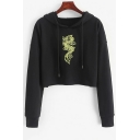 Fashion Simple Floral Embroidery Black Long Sleeve Crop Hoodie