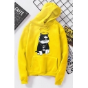 Cool Cartoon Cat Printed Long Sleeve Sport Leisure Unisex Hoodie