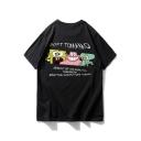 Guys Hip Hop Style Cartoon Comic Letter SOFT BANANA Printed Cotton Loose T-Shirt