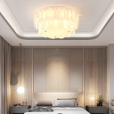 Modern Drum Flush Mount Ceiling Light Glass White Ceiling Light Fixture for Living Room