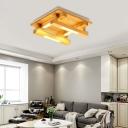 1/4/9 Light Crossed Lines Flush Mount Light Modern Wood Ceiling Light Fixture for Bedroom