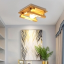 1/4/9 Light Global Shade Flush Mount Light Modern Wood Ceiling Light Fixture for Bedroom