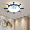 Integrated Led Rudder Ceiling Light Modern Style Metal Flush Mount Light for Children Room