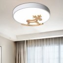 Nordic Round Flushmount Lighting with Wood Deer Decoration LED Metal Flush Ceiling Light