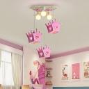 Girls Room Crown Ceiling Light Wood 6 Bulbs Flushmount Light with Adjustable Cord