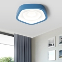 Macaron Pentagon Flush Mount Ceiling Light LED Acrylic Flush Light for Bedroom