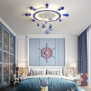 Ship Steering Wheel Flush Ceiling Lights Blue and White Acrylic 1 Light Flush Mount Light with Cute Pendants