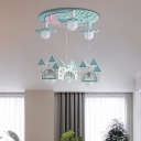 Small House 6 Lights Hanging Pendant Lights Wood Ceiling Light Fixtures Kids Room Lighting