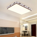 Metallic Hollow Rectangle/Square Flush Mount Light LED Modern Simple Ceiling Lighting in Brown