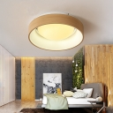 Wood Grain Circular Ceiling Mounted Lights LED Modern Simple Acrylic Flush Light for Bedroom