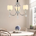Chrome Curved Arm Chandelier Lamp with Cylinder White Glass Shade 3-Light Modern Hanging Light