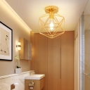 Polished Brass Ceiling Lights Transitional Iron 1 Head Prismatic Flush Mount Light for Bathroom