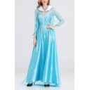 Fancy Blue Comic Cosplay Costume Maxi Swing Dress Princess Gown Dress