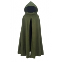 New Gothic Style Plain Split Front Long Hooded Cape