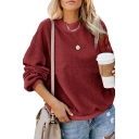 Fashionable Plain Faux Fur Round Neck Long Sleeve pullover Sweatshirt
