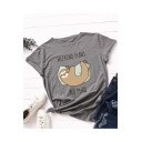 WEEKEND PLANS NO PLAN Letter Sloth Printed Round Neck Short Sleeve Tee