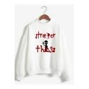 New Trendy  Letter Print Mock Neck Long Sleeve Loose Sweatshirt