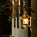Antique Brass Lantern Wall Sconce Traditional Wall Sconces Lighting Fixtures with Rope
