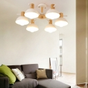 Nordic Style Dome Hanging Chandelier 3/6 Lights Ceiling Light with White Metal Shade